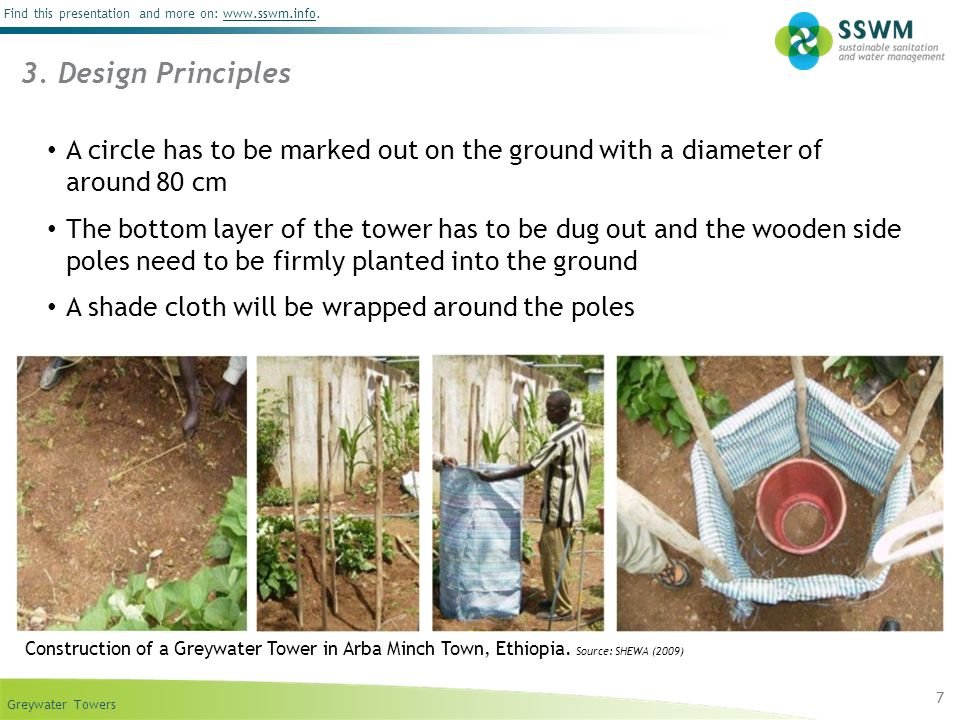 Greywater Towers Find this presentation and more on: www.sswm.info.www.sswm.info 8 The resulting cylinder will be filled with gravel in the middle and the soil mix all around.