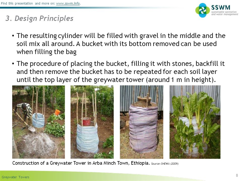 Greywater Towers Find this presentation and more on: www.sswm.info.www.sswm.info 9 Little labour for construction and little operation and maintenance is required Once people have become familiar with the towers, they are easily maintained The towers can be positioned right at the back door so that it is easy to pour the wastewater into the tower Difficult to predict how much water is required Necessary experience will come over time In the beginning it is recommended to apply around 20 litre per day and fine- tune it according to the exact water demand 4.
