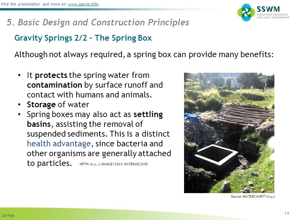 Springs Find this presentation and more on: www.ssswm.info.www.ssswm.info Gravity Springs 2/2 – The Spring Box Although not always required, a spring