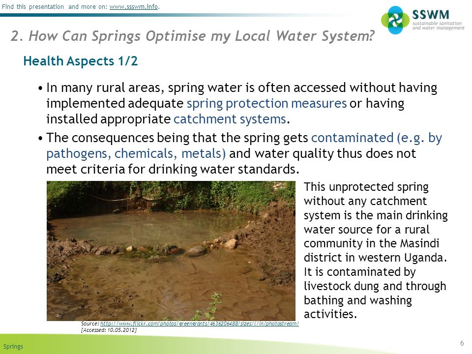 Springs Find this presentation and more on: www.ssswm.info.www.ssswm.info Health Aspects 1/2 In many rural areas, spring water is often accessed witho