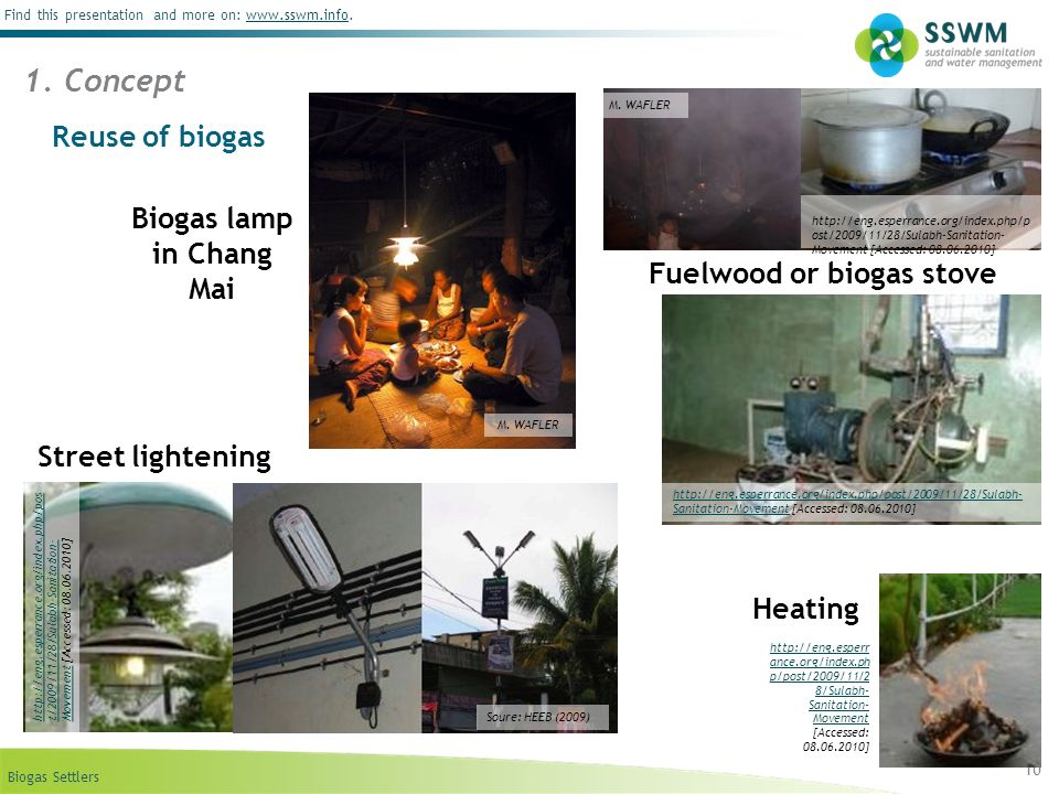 Biogas Settlers Find this presentation and more on: www.sswm.info.www.sswm.info 10 Reuse of biogas 1. Concept http://eng.esperrance.org/index.php/post