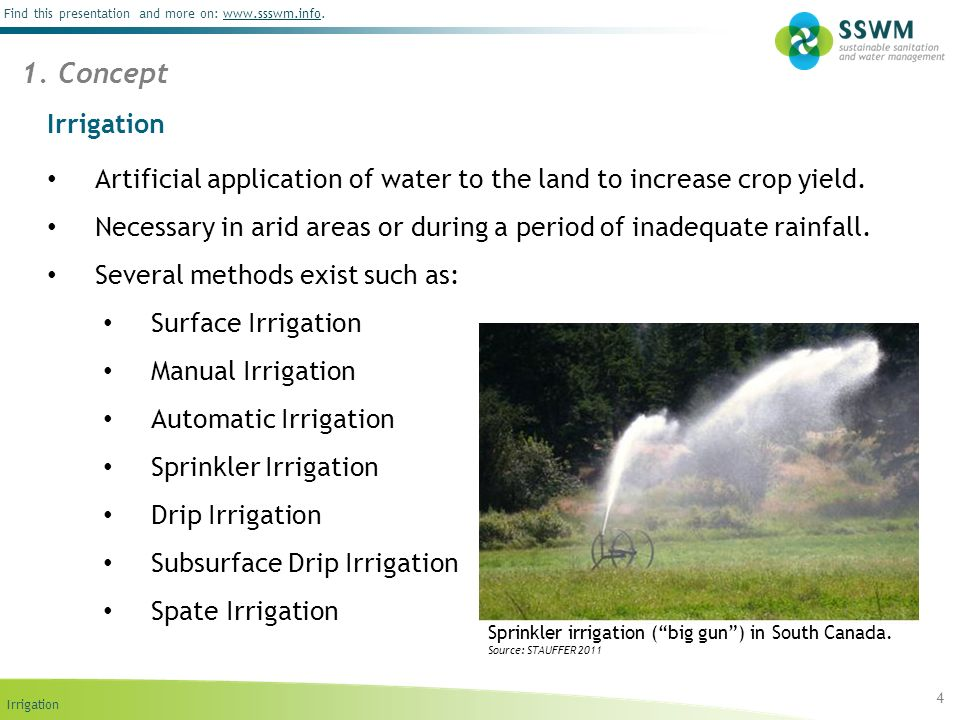 Irrigation Find this presentation and more on: www.ssswm.info.www.ssswm.info Irrigation Artificial application of water to the land to increase crop y