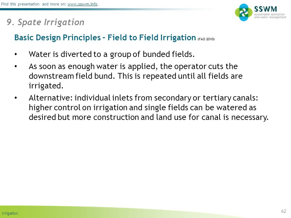 Irrigation Find this presentation and more on: www.ssswm.info.www.ssswm.info Basic Design Principles – Field to Field Irrigation (FAO 2010) 62 9. Spat