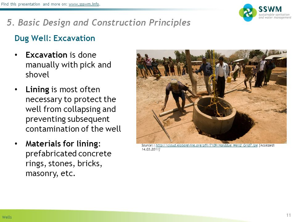 Wells Find this presentation and more on: www.ssswm.info.www.ssswm.info Dug Well: Excavation Excavation is done manually with pick and shovel Lining is most often necessary to protect the well from collapsing and preventing subsequent contamination of the well Materials for lining: prefabricated concrete rings, stones, bricks, masonry, etc.