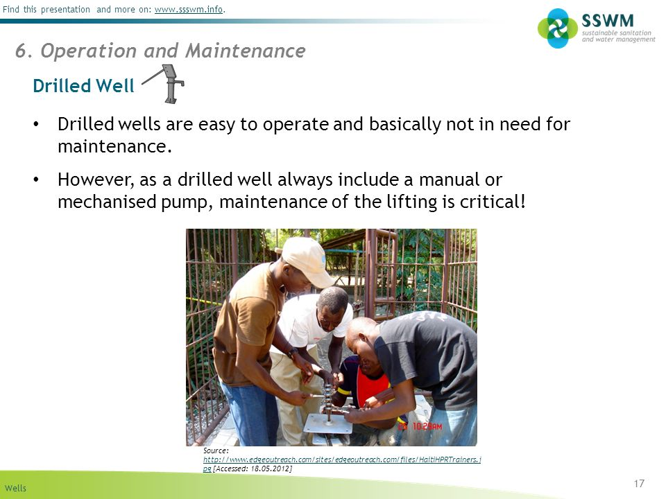 Wells Find this presentation and more on: www.ssswm.info.www.ssswm.info Drilled Well 17 Drilled wells are easy to operate and basically not in need for maintenance.