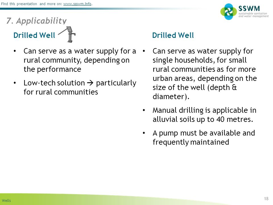 Wells Find this presentation and more on: www.ssswm.info.www.ssswm.info Drilled Well 18 Can serve as a water supply for a rural community, depending on the performance Low-tech solution particularly for rural communities Can serve as water supply for single households, for small rural communities as for more urban areas, depending on the size of the well (depth & diameter).