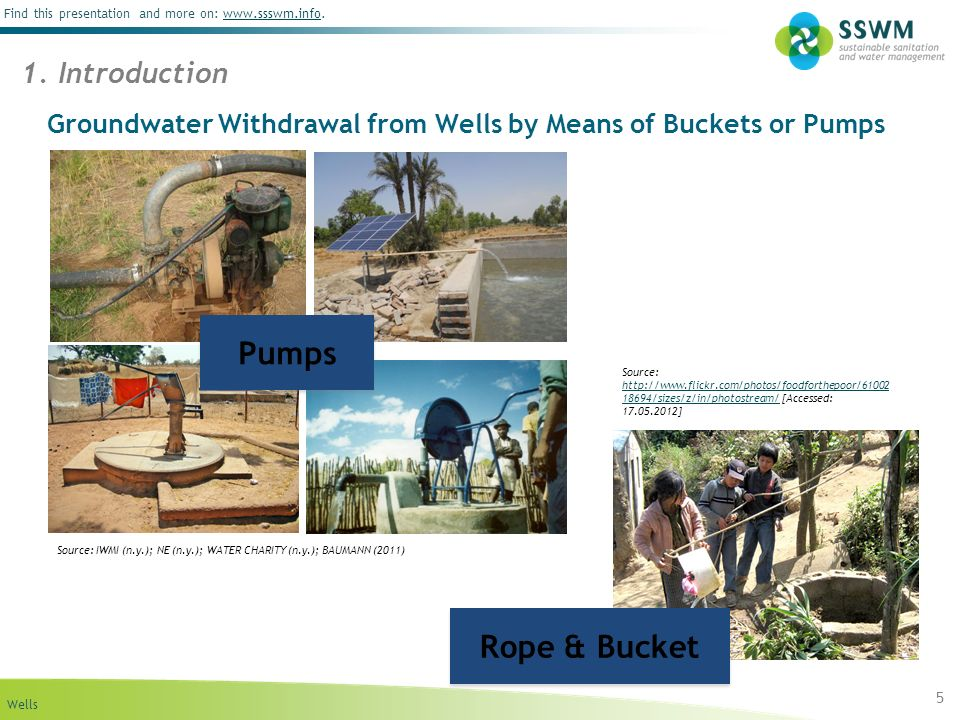 Wells Find this presentation and more on: www.ssswm.info.www.ssswm.info Groundwater Withdrawal from Wells by Means of Buckets or Pumps 5 1. Introducti