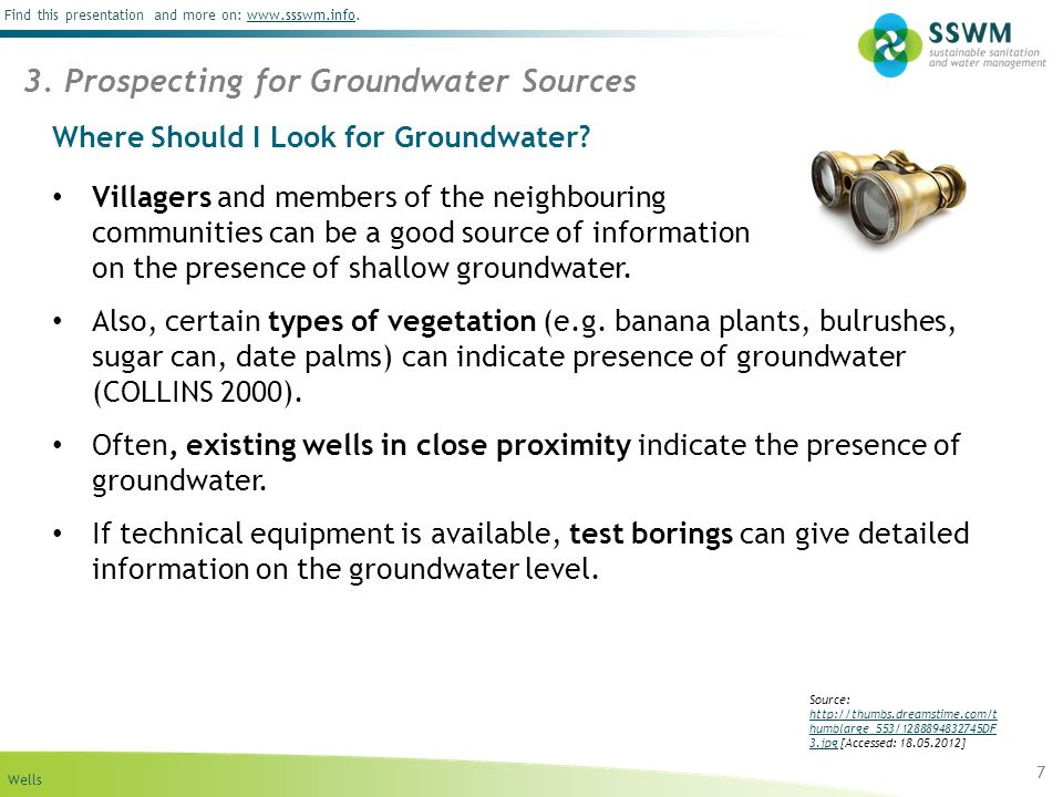 Wells Find this presentation and more on: www.ssswm.info.www.ssswm.info Where Should I Look for Groundwater? Villagers and members of the neighbouring