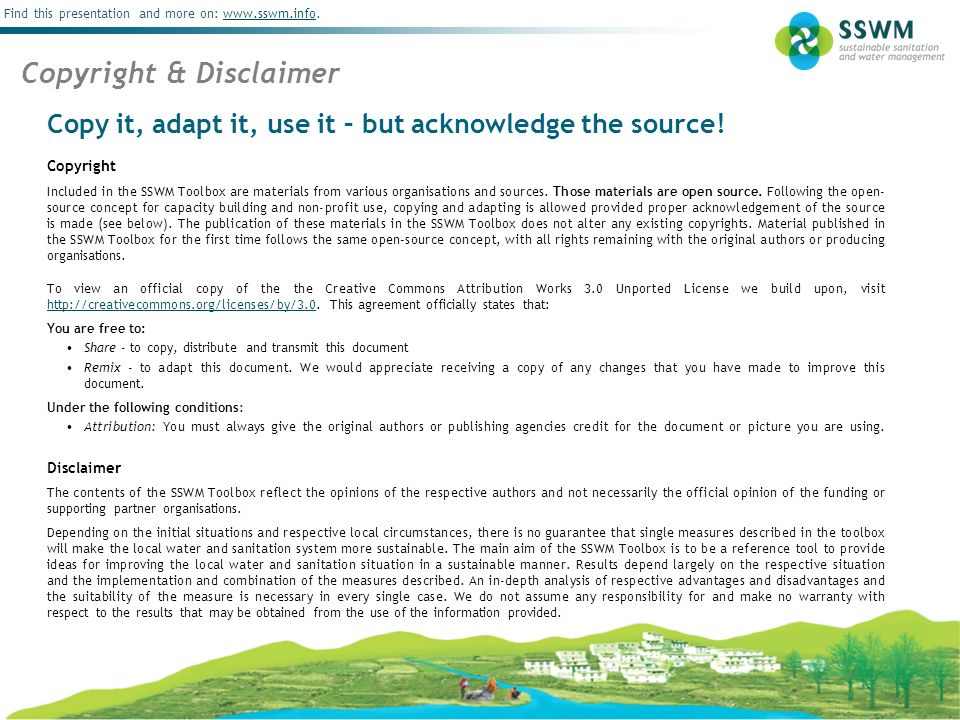 School Campaigns Find this presentation and more on: www.sswm.info.www.sswm.info Copy it, adapt it, use it – but acknowledge the source! Copyright Inc