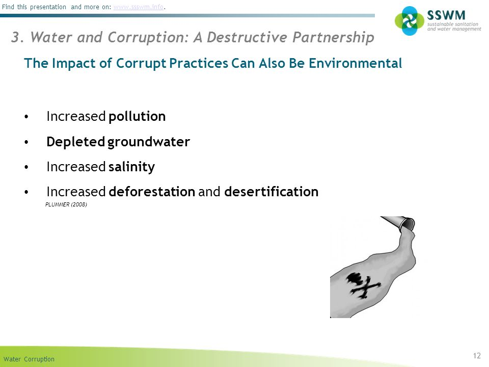Water Corruption Find this presentation and more on: www.ssswm.info.www.ssswm.info Increased pollution Depleted groundwater Increased salinity Increas