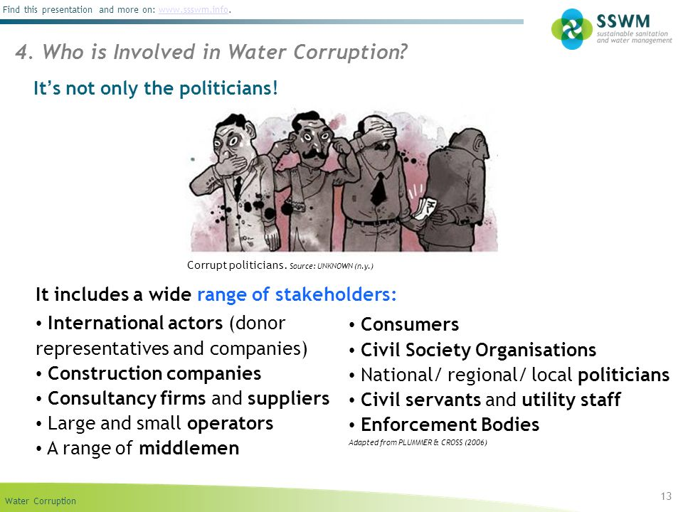 Water Corruption Find this presentation and more on: www.ssswm.info.www.ssswm.info It s not only the politicians! 13 4. Who is Involved in Water Corru