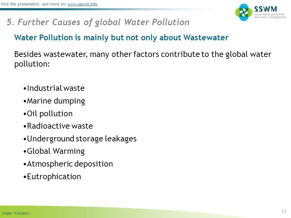 Water Pollution Find this presentation and more on: www.ssswm.info.www.ssswm.info Water Pollution is mainly but not only about Wastewater Besides wast