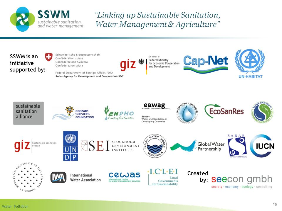 Water Pollution 18 Linking up Sustainable Sanitation, Water Management & Agriculture SSWM is an initiative supported by: Created by:
