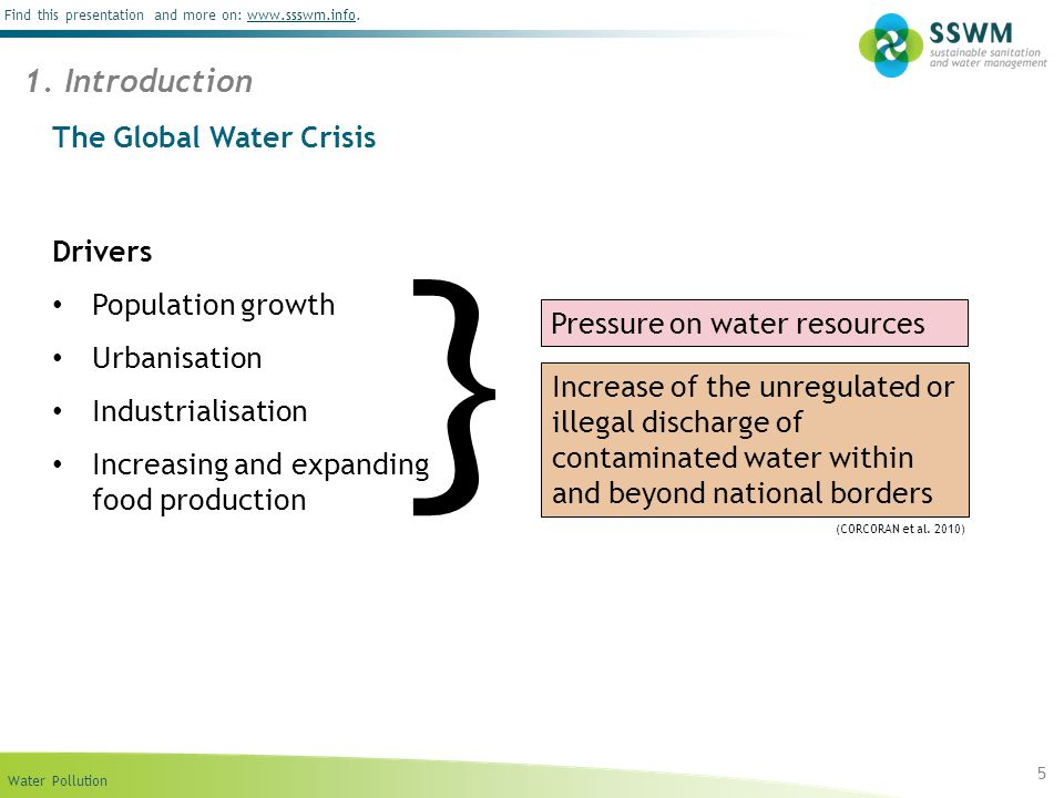 Water Pollution Find this presentation and more on: www.ssswm.info.www.ssswm.info The Global Water Crisis Drivers Population growth Urbanisation Indus