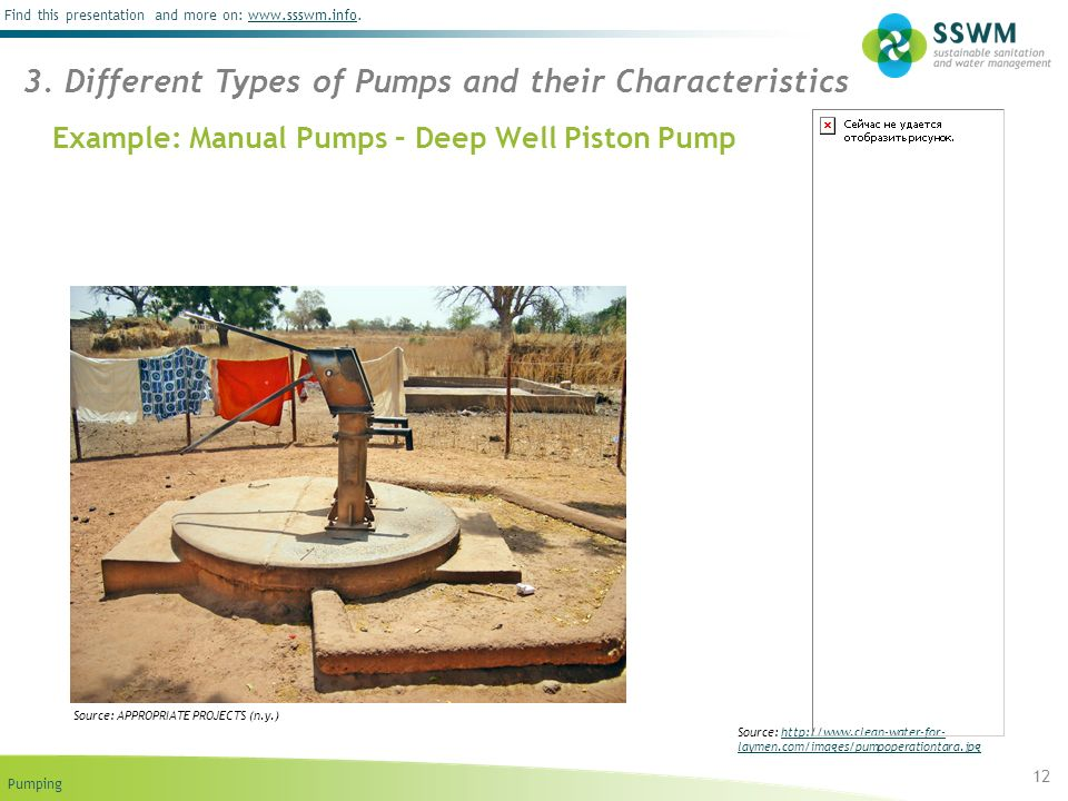 Pumping Find this presentation and more on: www.ssswm.info.www.ssswm.info Example: Manual Pumps – Deep Well Piston Pump 12 Source: http://www.clean-water-for- laymen.com/images/pumpoperationtara.jpghttp://www.clean-water-for- laymen.com/images/pumpoperationtara.jpg 3.