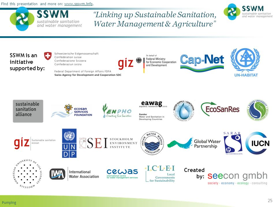 Pumping Find this presentation and more on: www.ssswm.info.www.ssswm.info 25 Linking up Sustainable Sanitation, Water Management & Agriculture SSWM is an initiative supported by: Created by: