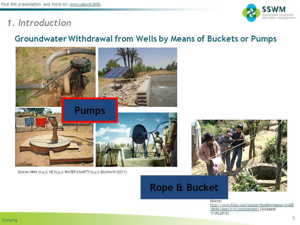 Pumping Find this presentation and more on: www.ssswm.info.www.ssswm.info Groundwater Withdrawal from Wells by Means of Buckets or Pumps 5 1.