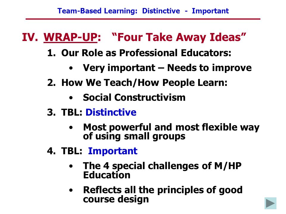 Team-Based Learning: Distinctive - Important IV.WRAP-UP: Four Take Away Ideas 1.Our Role as Professional Educators: Very important – Needs to improve