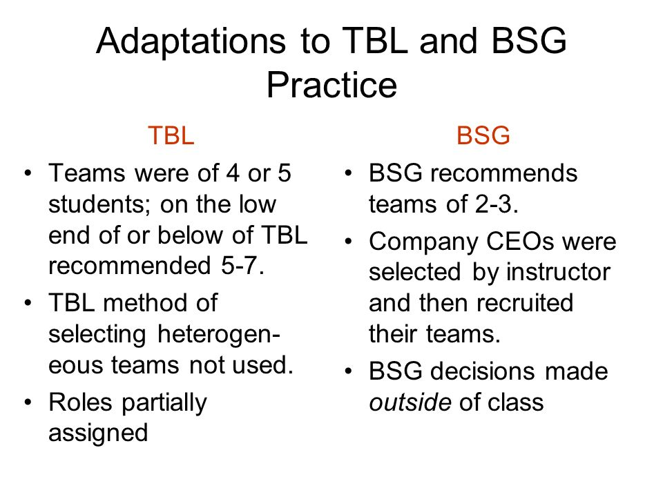 Adaptations to TBL and BSG Practice TBL Teams were of 4 or 5 students; on the low end of or below of TBL recommended 5-7. TBL method of selecting hete