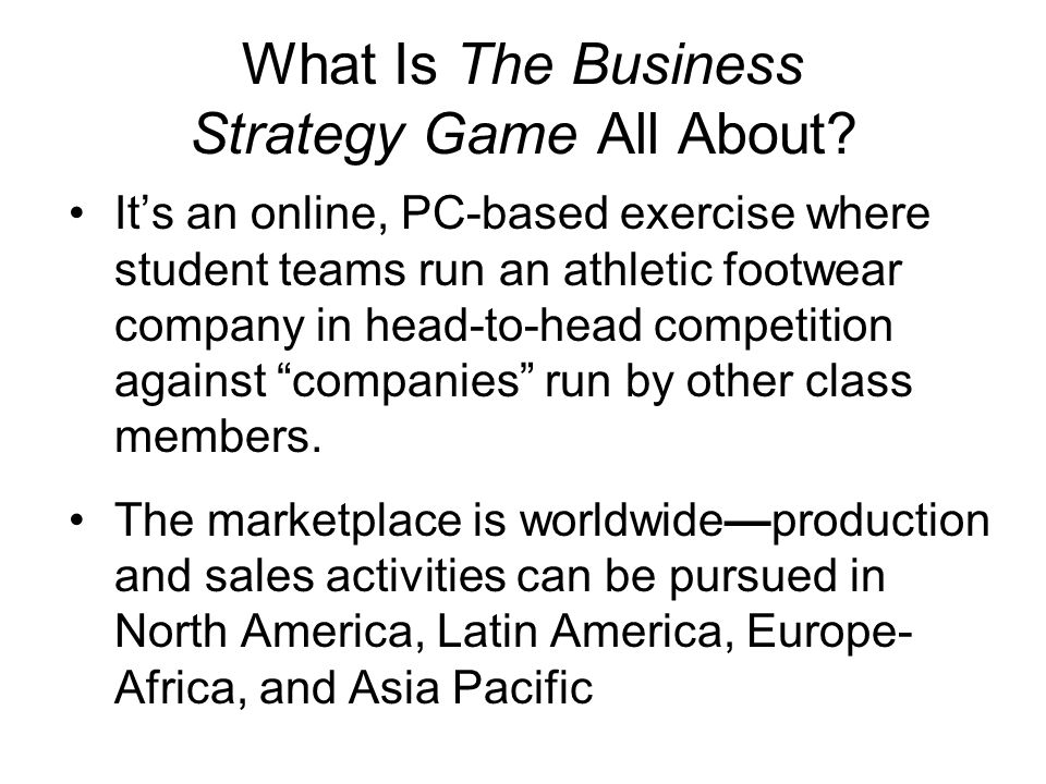 How Does The Business Strategy Game Work.