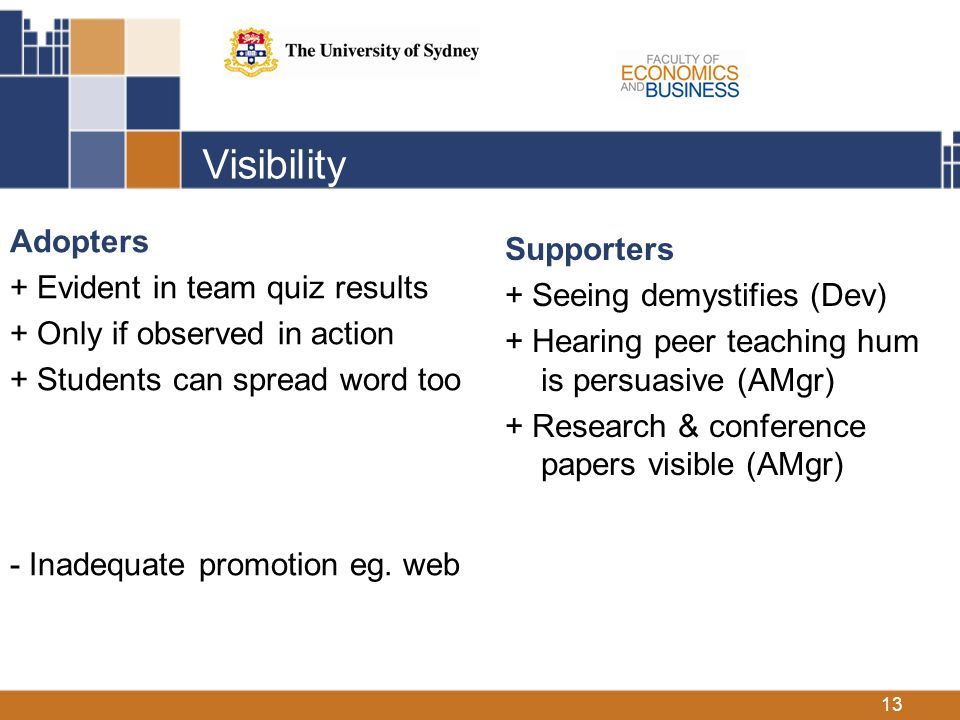 13 Visibility Adopters + Evident in team quiz results + Only if observed in action + Students can spread word too - Inadequate promotion eg.