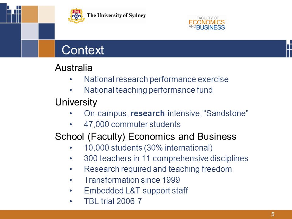 5 Context Australia National research performance exercise National teaching performance fund University On-campus, research-intensive, Sandstone 47,000 commuter students School (Faculty) Economics and Business 10,000 students (30% international) 300 teachers in 11 comprehensive disciplines Research required and teaching freedom Transformation since 1999 Embedded L&T support staff TBL trial 2006-7