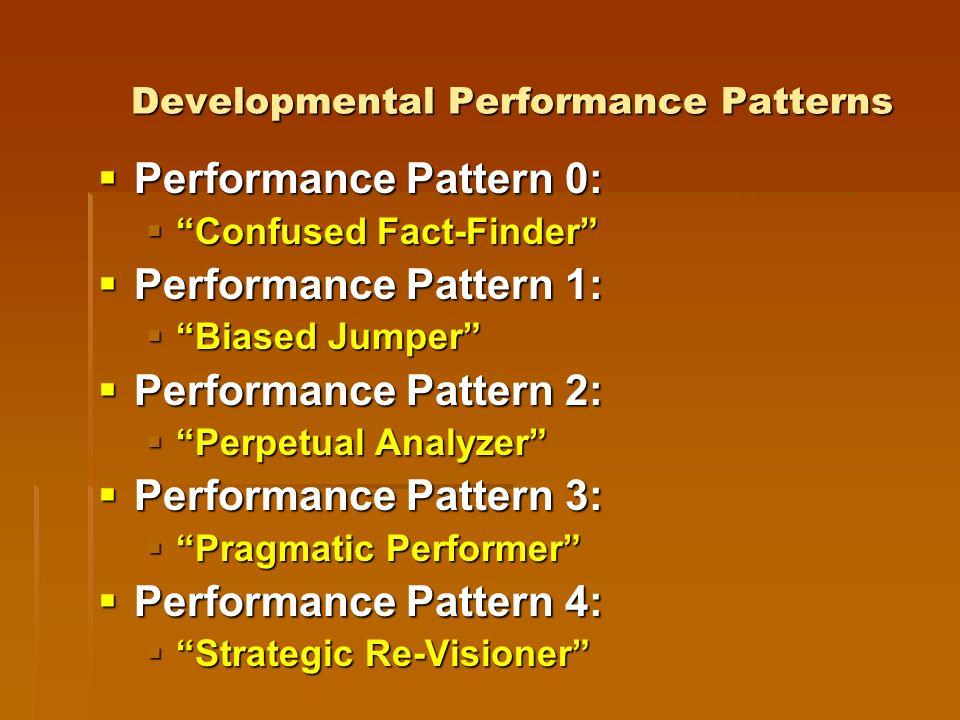Developmental Performance Patterns Performance Pattern 0: Performance Pattern 0: Confused Fact-Finder Confused Fact-Finder Performance Pattern 1: Performance Pattern 1: Biased Jumper Biased Jumper Performance Pattern 2: Performance Pattern 2: Perpetual Analyzer Perpetual Analyzer Performance Pattern 3: Performance Pattern 3: Pragmatic Performer Pragmatic Performer Performance Pattern 4: Performance Pattern 4: Strategic Re-Visioner Strategic Re-Visioner