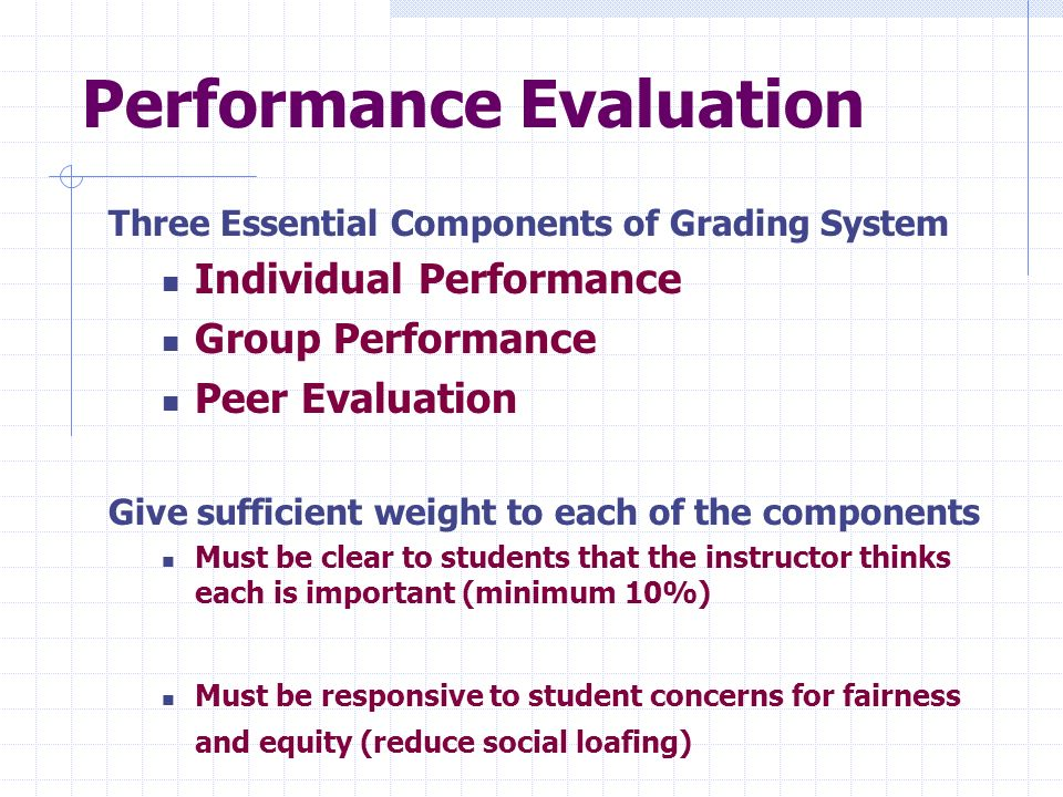 Performance Evaluation Three Essential Components of Grading System Individual Performance Group Performance Peer Evaluation Give sufficient weight to