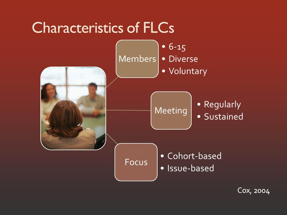 Characteristics of FLCs Members 6-15 Diverse Voluntary Meeting Regularly Sustained Focus Cohort-based Issue-based Cox, 2004