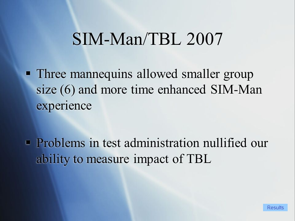 SIM-Man/TBL 2007 Three mannequins allowed smaller group size (6) and more time enhanced SIM-Man experience Problems in test administration nullified our ability to measure impact of TBL Three mannequins allowed smaller group size (6) and more time enhanced SIM-Man experience Problems in test administration nullified our ability to measure impact of TBL Results