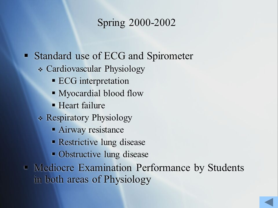 Spring 2000-2002 Standard use of ECG and Spirometer Cardiovascular Physiology ECG interpretation Myocardial blood flow Heart failure Respiratory Physiology Airway resistance Restrictive lung disease Obstructive lung disease Mediocre Examination Performance by Students in both areas of Physiology Standard use of ECG and Spirometer Cardiovascular Physiology ECG interpretation Myocardial blood flow Heart failure Respiratory Physiology Airway resistance Restrictive lung disease Obstructive lung disease Mediocre Examination Performance by Students in both areas of Physiology