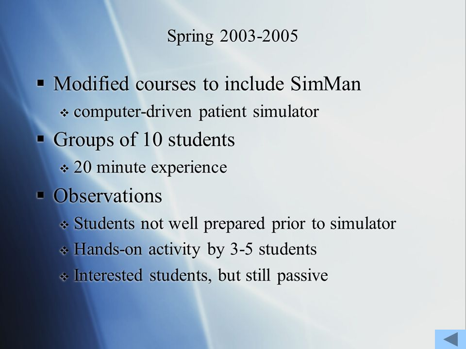 Spring 2003-2005 Modified courses to include SimMan computer-driven patient simulator Groups of 10 students 20 minute experience Observations Students not well prepared prior to simulator Hands-on activity by 3-5 students Interested students, but still passive Modified courses to include SimMan computer-driven patient simulator Groups of 10 students 20 minute experience Observations Students not well prepared prior to simulator Hands-on activity by 3-5 students Interested students, but still passive