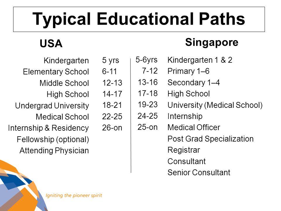 Typical Educational Paths Kindergarten Elementary School Middle School High School Undergrad University Medical School Internship & Residency Fellowsh