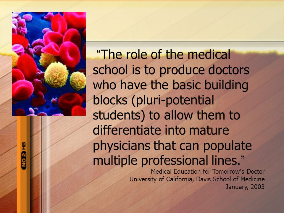 The role of the medical school is to produce doctors who have the basic building blocks (pluri-potential students) to allow them to differentiate into