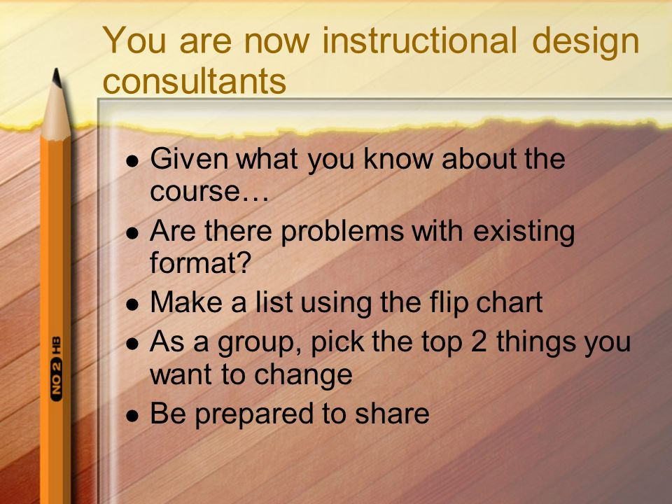 You are now instructional design consultants Given what you know about the course… Are there problems with existing format? Make a list using the flip