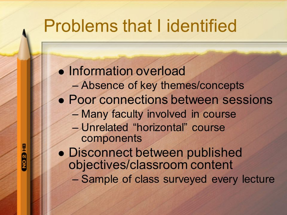 Problems that I identified Information overload –Absence of key themes/concepts Poor connections between sessions –Many faculty involved in course –Un