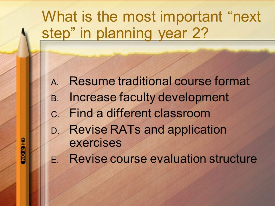 What is the most important next step in planning year 2? A. Resume traditional course format B. Increase faculty development C. Find a different class