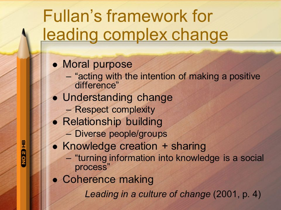 Fullans framework for leading complex change Moral purpose –acting with the intention of making a positive difference Understanding change –Respect co