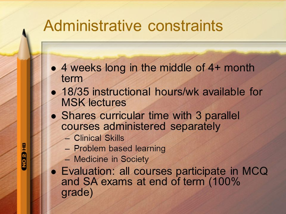 4 weeks long in the middle of 4+ month term 18/35 instructional hours/wk available for MSK lectures Shares curricular time with 3 parallel courses adm