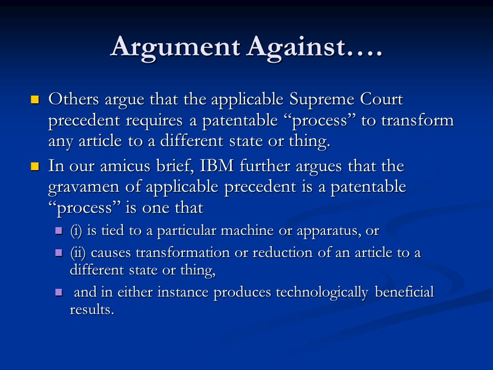 Argument Against….
