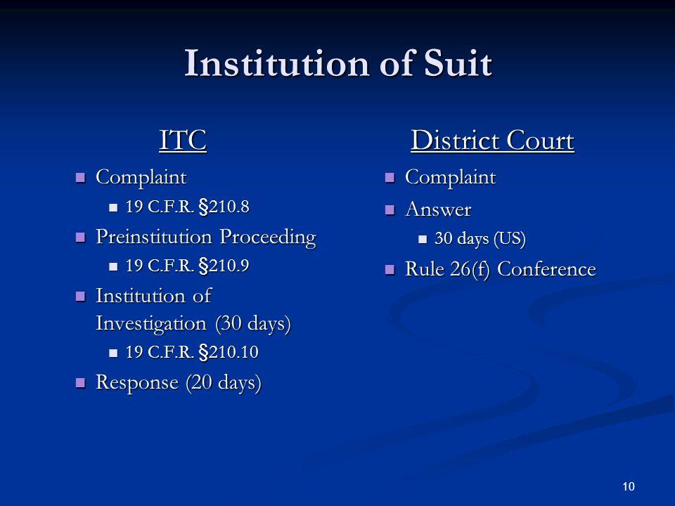 10 Institution of Suit ITC Complaint Complaint 19 C.F.R.