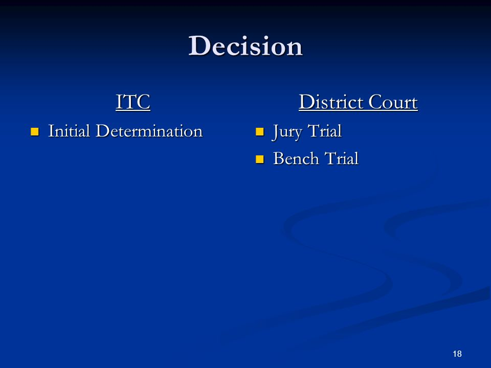 18 Decision ITC Initial Determination Initial Determination District Court Jury Trial Bench Trial