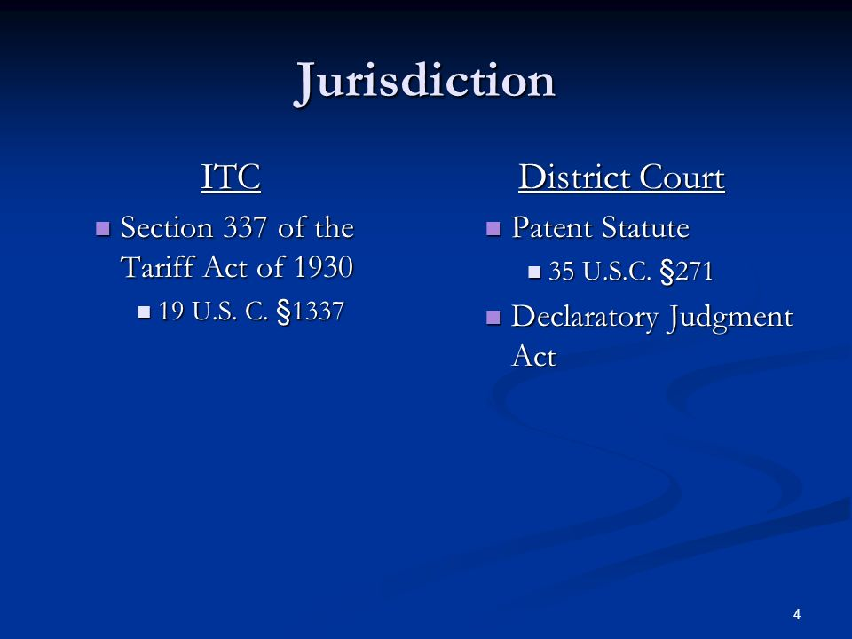 4 Jurisdiction ITC Section 337 of the Tariff Act of 1930 Section 337 of the Tariff Act of 1930 19 U.S. C. §1337 19 U.S. C. §1337 District Court Patent