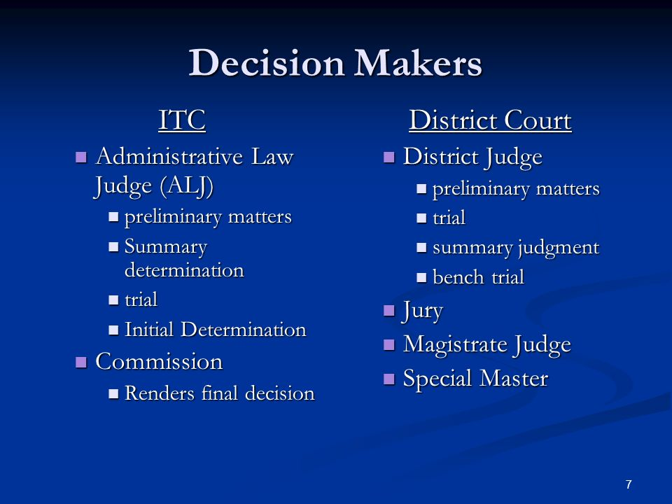 7 Decision Makers ITC Administrative Law Judge (ALJ) Administrative Law Judge (ALJ) preliminary matters preliminary matters Summary determination Summ