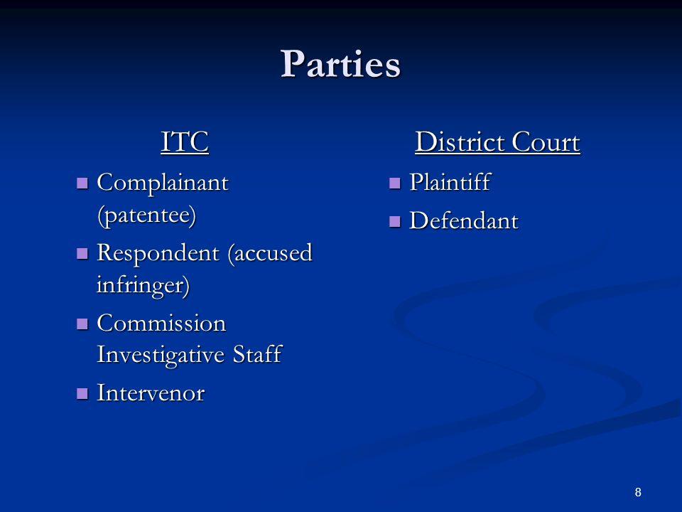8 Parties ITC Complainant (patentee) Complainant (patentee) Respondent (accused infringer) Respondent (accused infringer) Commission Investigative Staff Commission Investigative Staff Intervenor Intervenor District Court Plaintiff Defendant