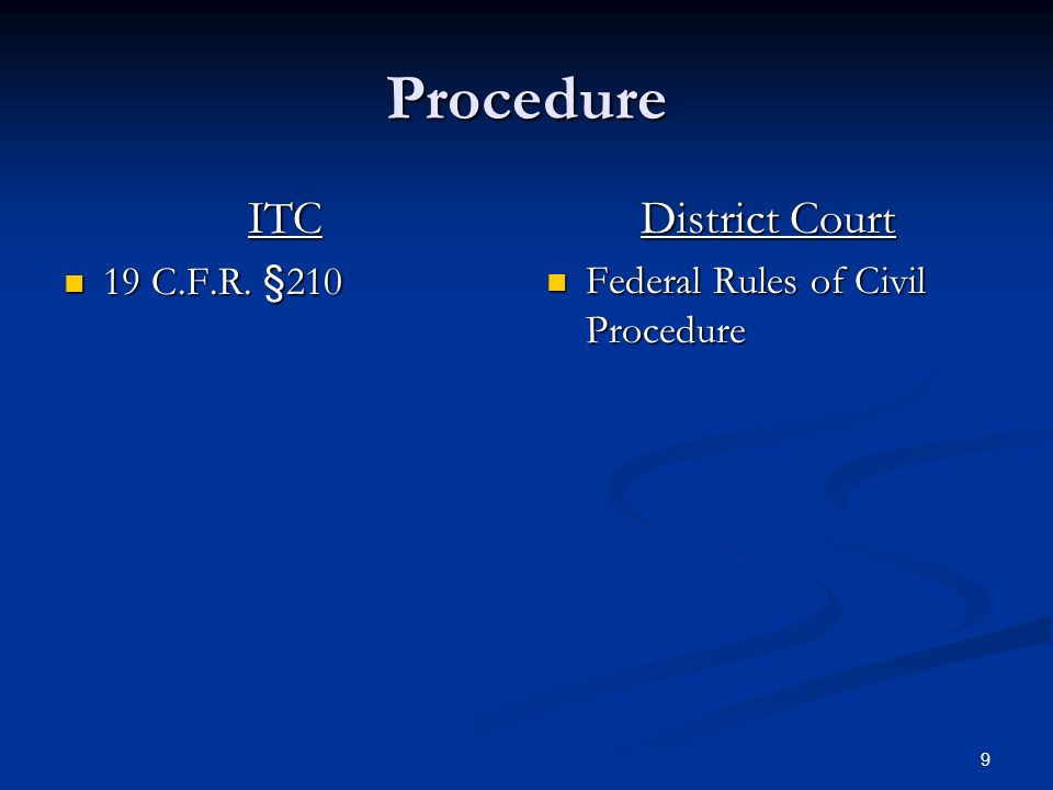 9 Procedure ITC 19 C.F.R. §210 19 C.F.R. §210 District Court Federal Rules of Civil Procedure