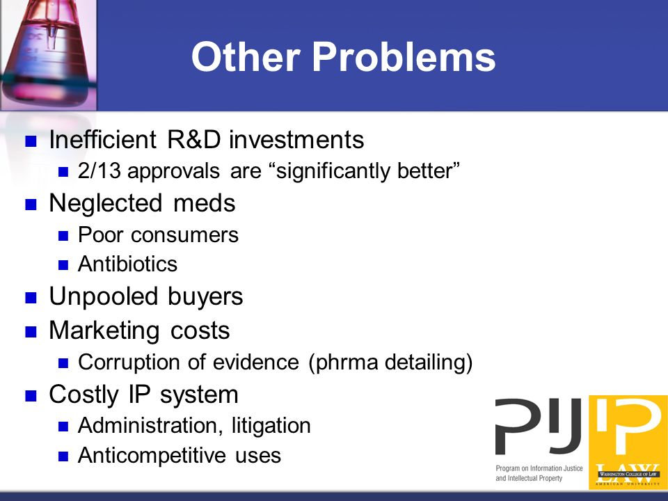 Other Problems Inefficient R&D investments 2/13 approvals are significantly better Neglected meds Poor consumers Antibiotics Unpooled buyers Marketing costs Corruption of evidence (phrma detailing) Costly IP system Administration, litigation Anticompetitive uses
