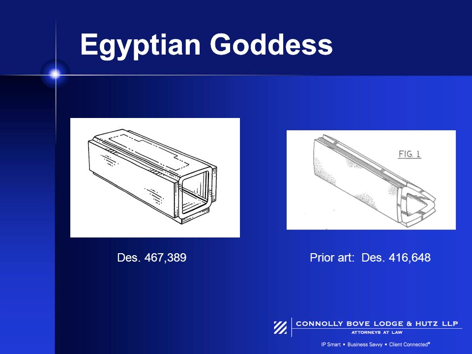 Egyptian Goddess Des. 467,389Prior art: Des. 416,648