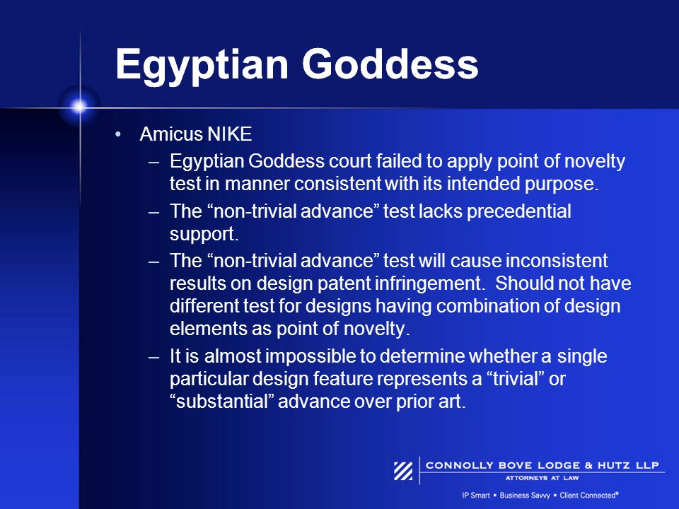 Egyptian Goddess Amicus NIKE –Egyptian Goddess court failed to apply point of novelty test in manner consistent with its intended purpose. –The non-tr