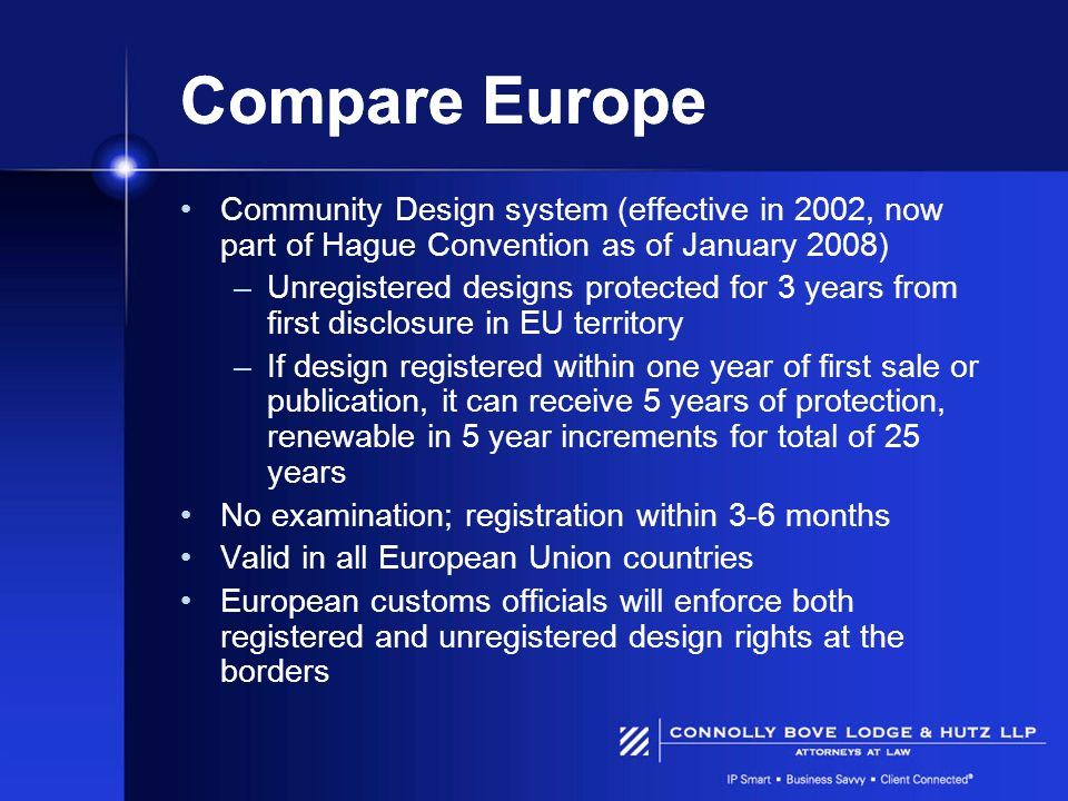 Compare Europe Community Design system (effective in 2002, now part of Hague Convention as of January 2008) –Unregistered designs protected for 3 year